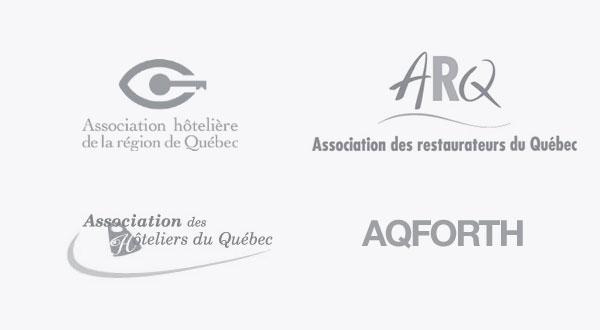 Partenaires Association Hôtelière de la région de Québec, Association des restaurateurs du Québec (ARQ), Association des Hôtelliers du Québec, AQFORTH